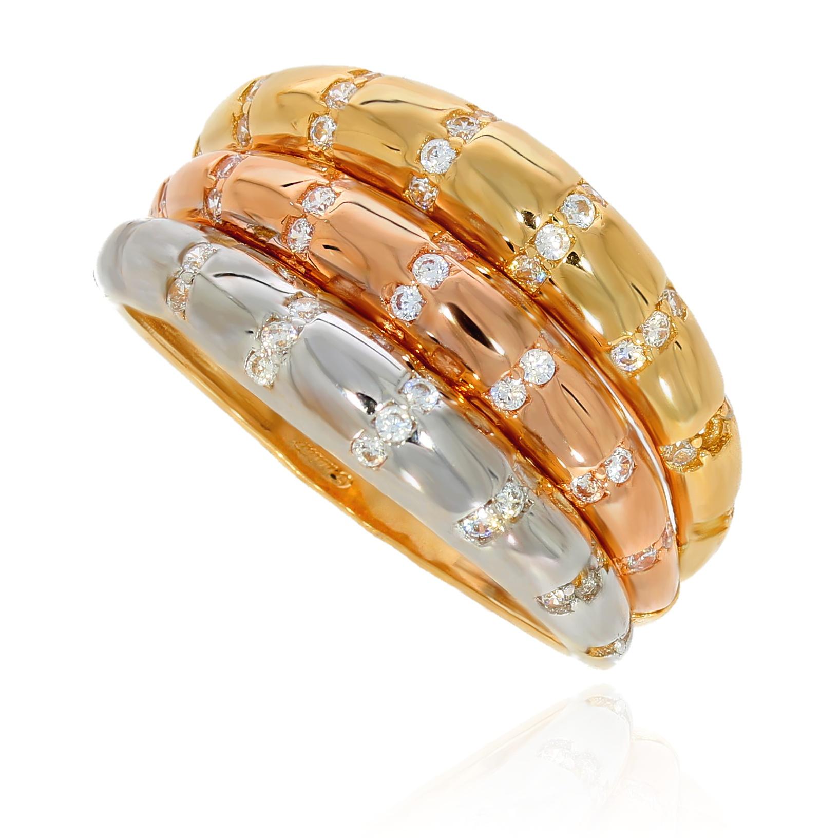 4433aaa81fc197 Szeroki pierścionek trzy kolory złota | Leo Diamonds - biżuteria ...